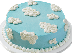 Blue Cake With Cloud Patterns Of Frosting